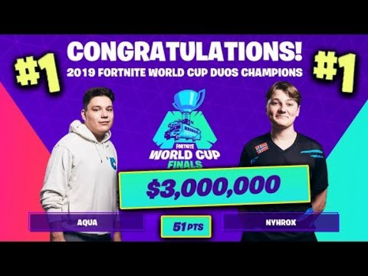 FORTNITE WORLD CUP 2019 DUO FINAŁY - AQUA&NYHROX ZGARNIAJĄ $3,000,000! | TYPOWY